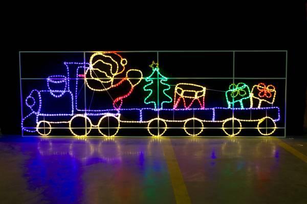 Bilde av Julenissetog 98x300 cm. Stor LED-figur