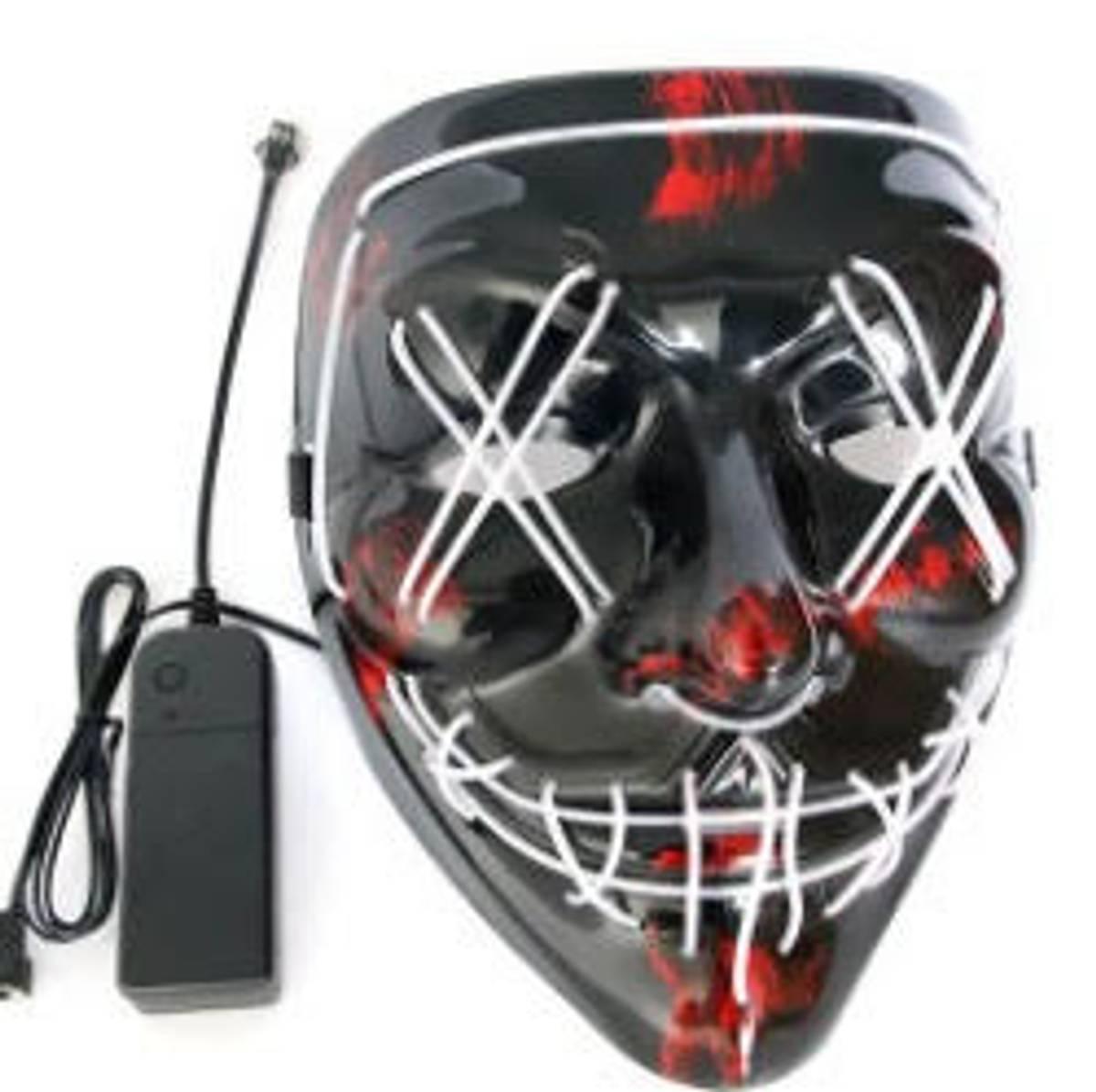 LED-maske Halloween hvit